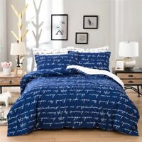 Duvet Cover Set for Comforter Queen Size Blue Bedding Set Pillowcases US
