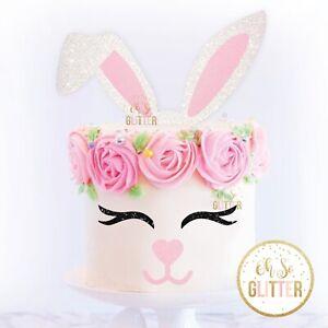 Easter Cake Topper kit Rabbit Bunny easter ears eyes nose glitter happy birthday