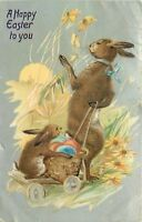 Fantasy Easter~Upright Papa Rabbit Pulls Colored Egg Basket & Bunny~Emboss~TUCK
