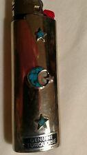 Vtg Silver Turquoise Star Moon Sky Case Cover Bic old cigarette Lighter Holder