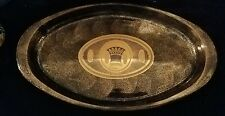 """Vintage Georges Briard Oval Glass Pyrex Casserole Serving Dish 18""""Dust Gold Dove"""