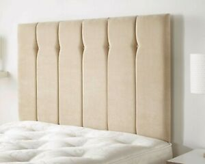 Luxury Linen Fabric Upholstered Vertical Panel Buttoned Divan Bed Headboard