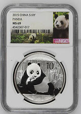 2015 China Panda NGC MS 69 S10Y 1oz .999 Fine Silver Chinese Coin Graded 10 Yuan