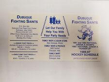 Dubuque Fighting Saints 1986/87 USHL Minor Hockey Pocket Schedule - Family (RK)