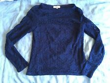 Somerset By Alice Temperley 8 navy blue cotton lace top Sheer long sleeves