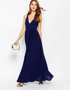 Adelyn Rae Plunge Maxi Evening Dress with Cut out Back Detail Size S UK 8/EU 36