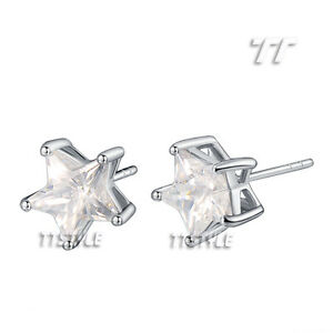 TTStyle 18K White Gold Filled Sparkling Clear Star Earrings