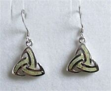 Irish Sterling Silver Connemara Marble Trinity Knot Drop Earrings