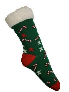S. Christina Collection Holiday Christmas Fuzzy Socks Slippers House no-slip NEW