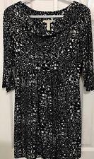 Three Seasons Black/White 3/4 Sleeves Polyester/Spandex Maternity Dress-Size M