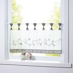 Scheibengardine Bistrogardinen mit Schlaufen Gardinen Küche Bestickt Grau Modern