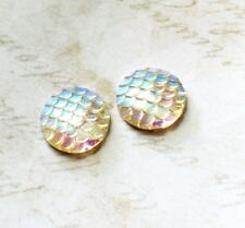 4 Mermaid Scale Cabochons 20mm Flatbacks Dragon Scales Round Clear