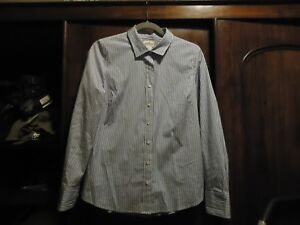 J. Crew Haberdashery Blue & WHite Striped Cotton Shirt S