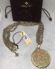 Patricia Nash Nicolina Double Chain Necklace in Fleuriste Leather Inset