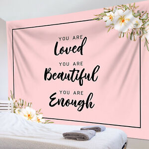 Wildflowers Inspirational Words Girl Pink Tapestry Wall Hang Living Room Bedroom