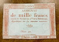 France 1000 Francs 1795 P- A80 VF ASSIGNAT banknote