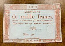 France 1000 Francs 1795 P- A80 VF ASSIGNAT banknote