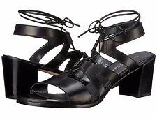 Stuart Weitzman Tiegirl Black Leather Women's Tie Heels Sandals Size 4 M