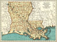 1937 Antique MAP of LOUISIANA Vintage Louisiana State Map Gift Wall Art 7579