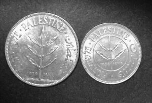 Two Palestine Silver Coins, 1939, 50 Mils and 100 Mils, Lustrous AU