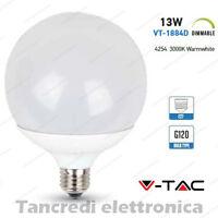 Lampadina led V-TAC dimmerabile 13W = 75W E27 bianco caldo 3000K VT-1884D globo
