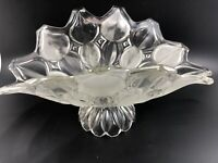 Large Footed Glass Fruit Bowl Moravia PETAL Pattern FROSTED scalloped edge 11X6