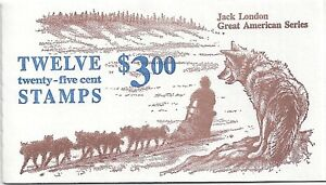 Jack London - BK152 1988 Brown & Blue Booklet of 2 panes of six 25c Stamps - NH