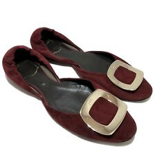 ROGER VIVIER 'CHIPS' FLATS IN BURGUNDY SUEDE WITH GOLD BUCKLE, 38, $695