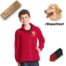 Children - Fleece Jacket Embroidered Embroidery Dog Hovawart M2 + Desired Text