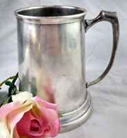 Vtg Clear Bottom Silverplate Mug Beer Stein 5 inches tall Cup Italy Hallmark