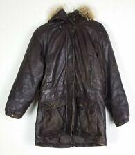 Vtg Eddie Bauer Men's Leather Coyote Fur Hood Goose Down Coat Size M 80s/90s