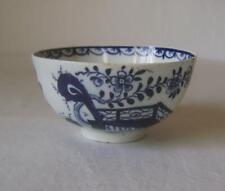 Lowestoft Porcelain Blue White Tea Bowl C.1780 - 90 Unusual Fence & Flowers  A/F