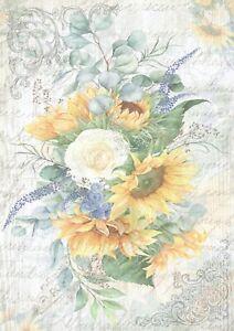 1 Blatt DIN A4 Decoupage Softpapier Sunflower