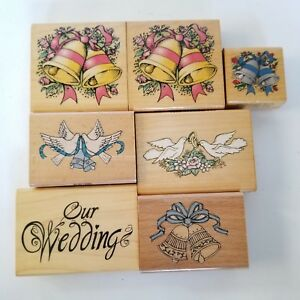 Rubber Stamps Wedding Bells Doves Commotion Westwater Wood Mounted 7
