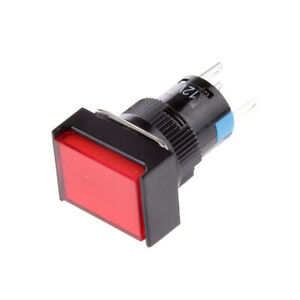 DC 12V Push Button Momentary Self Reset Square On Off Switch with LED Light
