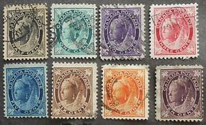 Canada 1897-1898 regular issue, Yv #54-61, used, CV=150EUR