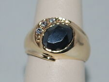 10k Gold ring with Hematite and CZ diamonds