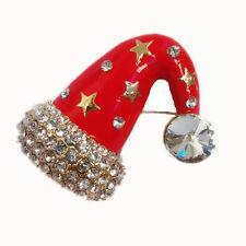 Lucente Rosso Natale Babbo Natale Cappello DECORAZIONE NATALE SPILLA PIN br234