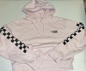 VANS PINK CHECK CROPPED HOODIE JUNIORS SIZE LARGE PRE-OWNED