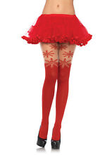Leg Avenue Spandex snowflake opaque pantyhose w/sheer thigh accent Halloween ...