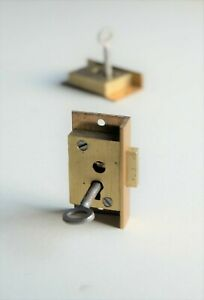 "SECURE 2 LEVER Brass Cut Cupboard Cabinet Door LOCK 2"" x 1"""