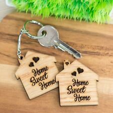 Wooden Oak Keyring Gift HOME SWEET HOME First Home New House Warming Wood Gifts
