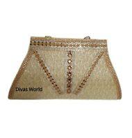 Ladies Golden Designer Clutch Crystal Women Evening Wedding Party Purse Hand Bag