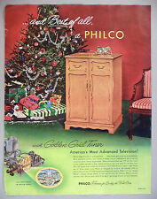 Philco Television PRINT AD - 1952 ~ toy train set under Christmas tree