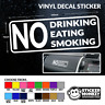 NO DRINKING EATING SMOKING - TAXI MINI BUS CAR VINYL STICKER DECAL - Any Colour!