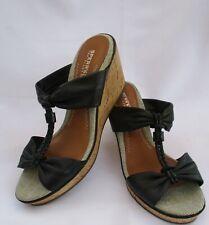 Women's SPERRY TOP-SIDER Black Leather Wedge Heel Slide  Sz 7.5 M