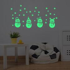 Christmas Glow Snowman Wall Stickers Living Room Luminous Window Home Decor