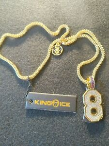 "King Ice Black Mamba Number 8 Pendant w/ 24"" Franco Necklace"