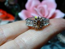 Jenipapo Andalusite, White Topaz Ring in Platinum Over 925 SS Size 6