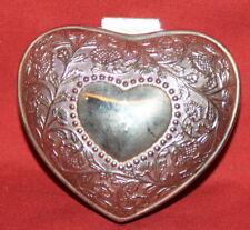 Vintage Ornate Floral Metal Heart Shape Box